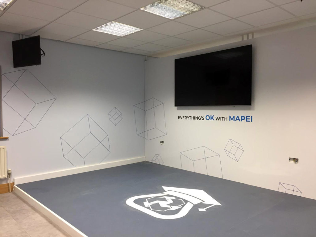 Full Range Print Solutions Mapei Training Room Full wall whiteboard